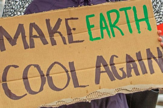 "Protest-Plakat mit der Aufschrift ""Make Earth Cool Again"""