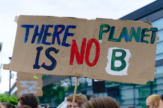 "Demo-Schild mit Aufschrift ""There is no planet B"""