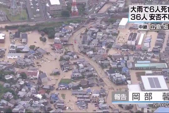 Ein überfluteter Straßenzug Aus Der Luft.