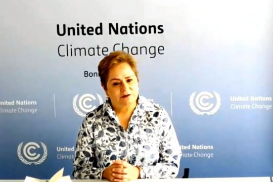 "Patricia Espinosa vor Wand mit Aufschrift ""United Nations Climate Change"""