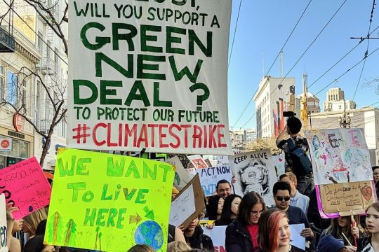 "Demo-Plakat in San Francisco: ""Will you support a Green New Deal?"""